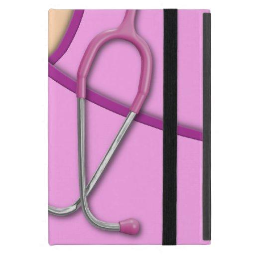 Médico rosado friega iPad mini cobertura