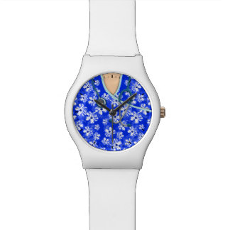Médico tropical azul y blanco friega relojes