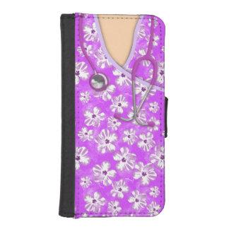 Médico tropical púrpura y blanco friega billetera para teléfono