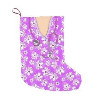Médico tropical púrpura y blanco friega calcetín navideño pequeño