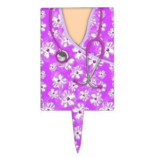 Médico tropical púrpura y blanco friega decoración de tarta