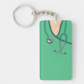 Médico verde friega llavero rectangular acrílico a doble cara