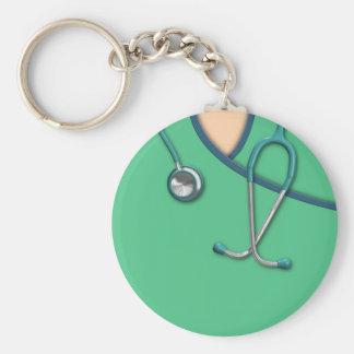Médico verde friega llavero redondo tipo pin