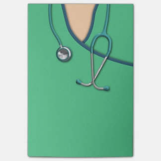Médico verde friega notas post-it®