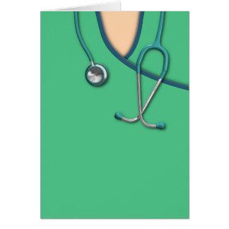 Médico verde friega tarjeta de felicitación