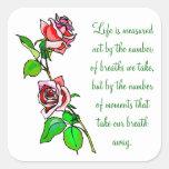 Medida de los rosas de vida pegatinas cuadradases