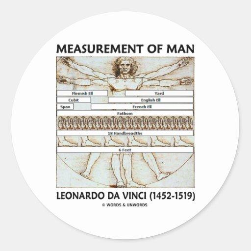 Medida del hombre etiquetas redondas