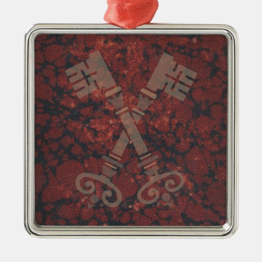 Medieval 21st keys against dark red marble metal ornament