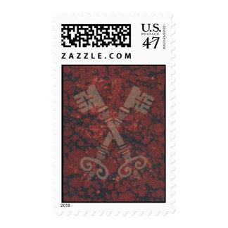 Medieval 21st keys against dark red marble postage