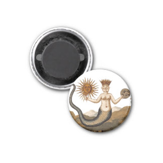 Medieval alchemy symbol - merman w/sun and moon 1 inch round magnet