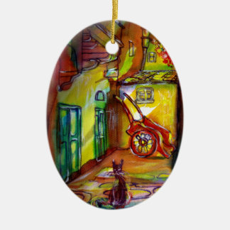 MEDIEVAL ALLEY BY NIGHT IN FLORENCE 2 Double-Sided OVAL CERAMIC CHRISTMAS ORNAMENT
