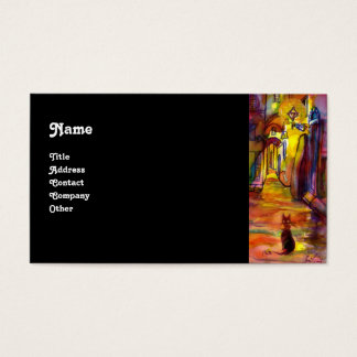 MEDIEVAL ALLEY BY NIGHT IN FLORENCE black Business Card