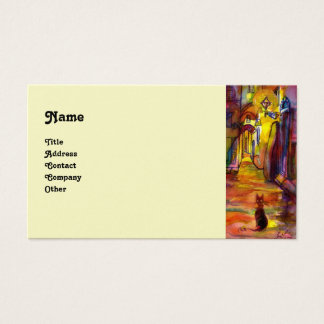 MEDIEVAL ALLEY BY NIGHT IN FLORENCE pearl Business Card