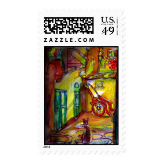 MEDIEVAL ALLEY BY NIGHT IN FLORENCE WITH BLACK CAT POSTAGE