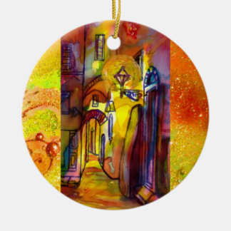 MEDIEVAL ALLEYS  BY NIGHT IN FLORENCE Double-Sided CERAMIC ROUND CHRISTMAS ORNAMENT