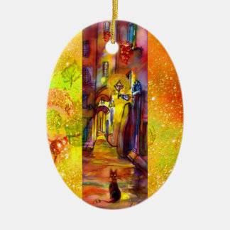 MEDIEVAL ALLEYS  BY NIGHT IN FLORENCE Double-Sided OVAL CERAMIC CHRISTMAS ORNAMENT