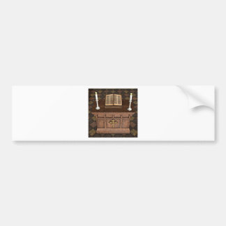 Medieval Alter and Bible Car Bumper Sticker