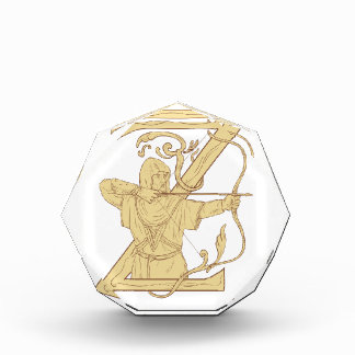 Medieval Archer Aiming Bow and Arrow Letter Z Draw Acrylic Award