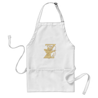 Medieval Archer Aiming Bow and Arrow Letter Z Draw Adult Apron