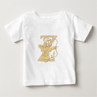 Medieval Archer Aiming Bow and Arrow Letter Z Draw Baby T-Shirt
