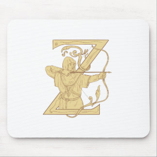Medieval Archer Aiming Bow and Arrow Letter Z Draw Mouse Pad