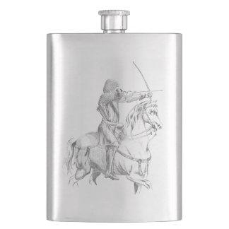 Medieval archer on horseback flask