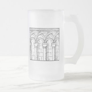 Medieval Architecture Frosted Glass Beer Mug