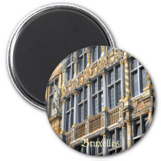 Medieval architecture of Grand place in Brussels 2 Inch Round Magnet