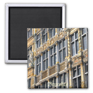 Medieval architecture of Grand place in Brussels 2 Inch Square Magnet