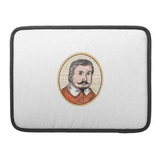 Medieval Aristocrat Gentleman Oval Woodcut Sleeve For MacBooks