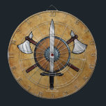 """Medieval Arms Dart Board<br><div class=""""desc"""">Medieval Arms, a medieval weapons themed illustration featuring a shield, a sword and two axes. Original drawing made with ink and colored pencils by artist &quot;Luna&quot; Siffert. Customizable product. You can add text and images, change the background, change styles and sizes (depending on the product type), etc. This design is...</div>"""