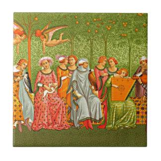 Medieval Art - Le Songe de la Vie by Orcagna Tiles
