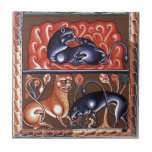 Medieval Art Lion Bestiary Bestiarium Miniature Tile