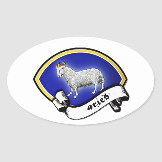 Medieval Astrological Zodiac Sign Ram (Aries) Oval Sticker