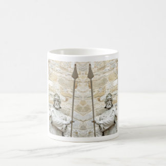 Medieval background with knight in armour coffee mug