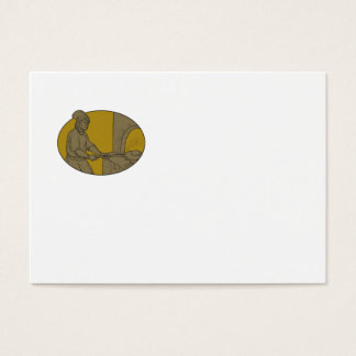 Medieval Baker Bread Peel Wood Oven Oval Drawing Business Card