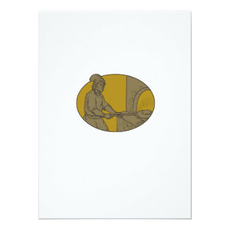 Medieval Baker Bread Peel Wood Oven Oval Drawing Card