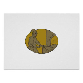Medieval Baker Bread Peel Wood Oven Oval Drawing Poster