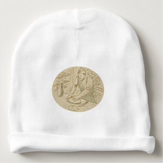 Medieval Baker Kneading Bread Dough Oval Drawing Baby Beanie