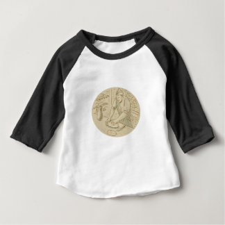 Medieval Baker Kneading Bread Dough Oval Drawing Baby T-Shirt