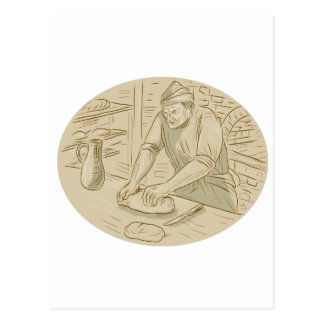 Medieval Baker Kneading Bread Dough Oval Drawing Postcard