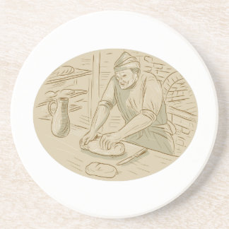 Medieval Baker Kneading Bread Dough Oval Drawing Sandstone Coaster