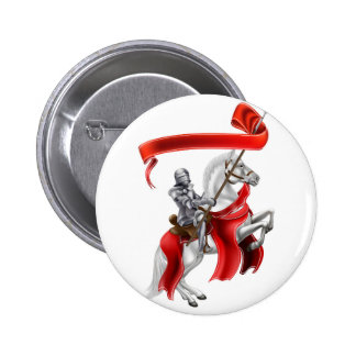 Medieval Banner Knight on Horse Pinback Button