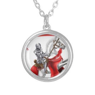 Medieval Banner Knight on Horse Round Pendant Necklace