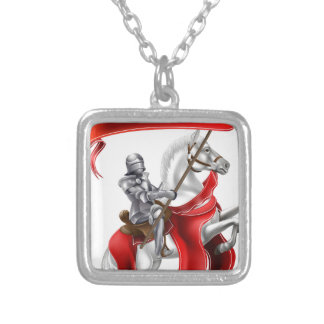 Medieval Banner Knight on Horse Square Pendant Necklace