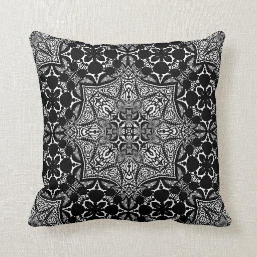 Medieval Batik Black White Art Fusion Cushion