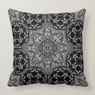 Medieval Batik Black White Art Fusion Cushion Throw Pillows