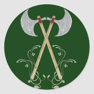 medieval battle axe red rope tighten on wood classic round sticker