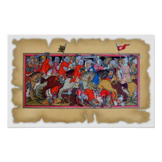 Medieval battle print