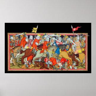 Medieval battle unique manuscript illumination poster